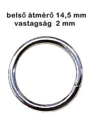 Karika egysoros, vágott, 2 mm x 14,5 mm ezüst nikkel színű. 20 Ft/db (25 db-tól)
