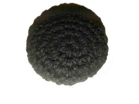 """Pamut fonallal bevont """"viselet"""" gomb fekete, hátul varró, ~ 28 mm-es,  160 Ft / db (6 db-tól)"""
