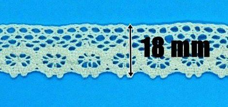 Pamut csipke bézs, 18 mm, 160 Ft/m ( 25 méter)