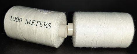Fehér cérna, 1000 méter/cséve, 100% polyester, 120-as vastagságú varrócérna. Double T Brand.  220 Ft/ db