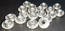 Csiszolt átlátszó gyöngy, műanyag akrill. Nagylyukú köztes kellék, zsinórdísz. 14,5 mmx9 mm. Fűzőlyuk 5 mm.  70 Ft/db  (10 db/cs)