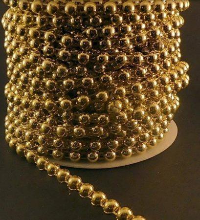 Gyöngyfüzér félgyöngy arany színben, 6 mm, méretre vágható. 200 Ft/m