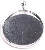 Medál -, bross alap, fém, ezüst színű , kreatív kellék, akasztóval. 25 mm-es.  250 Ft/db